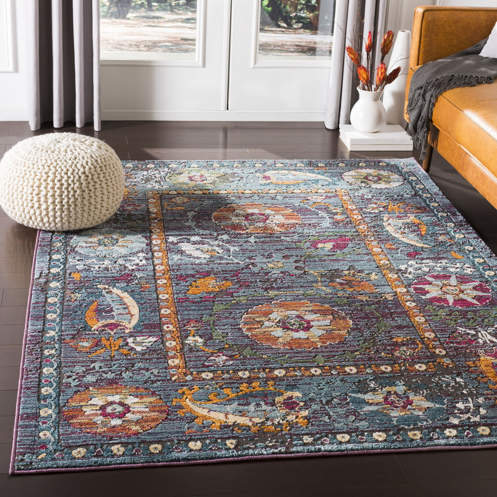 Kaiden Distressed Floral Teal/Purple Area Rug Rug Size: Rectangle 7'10