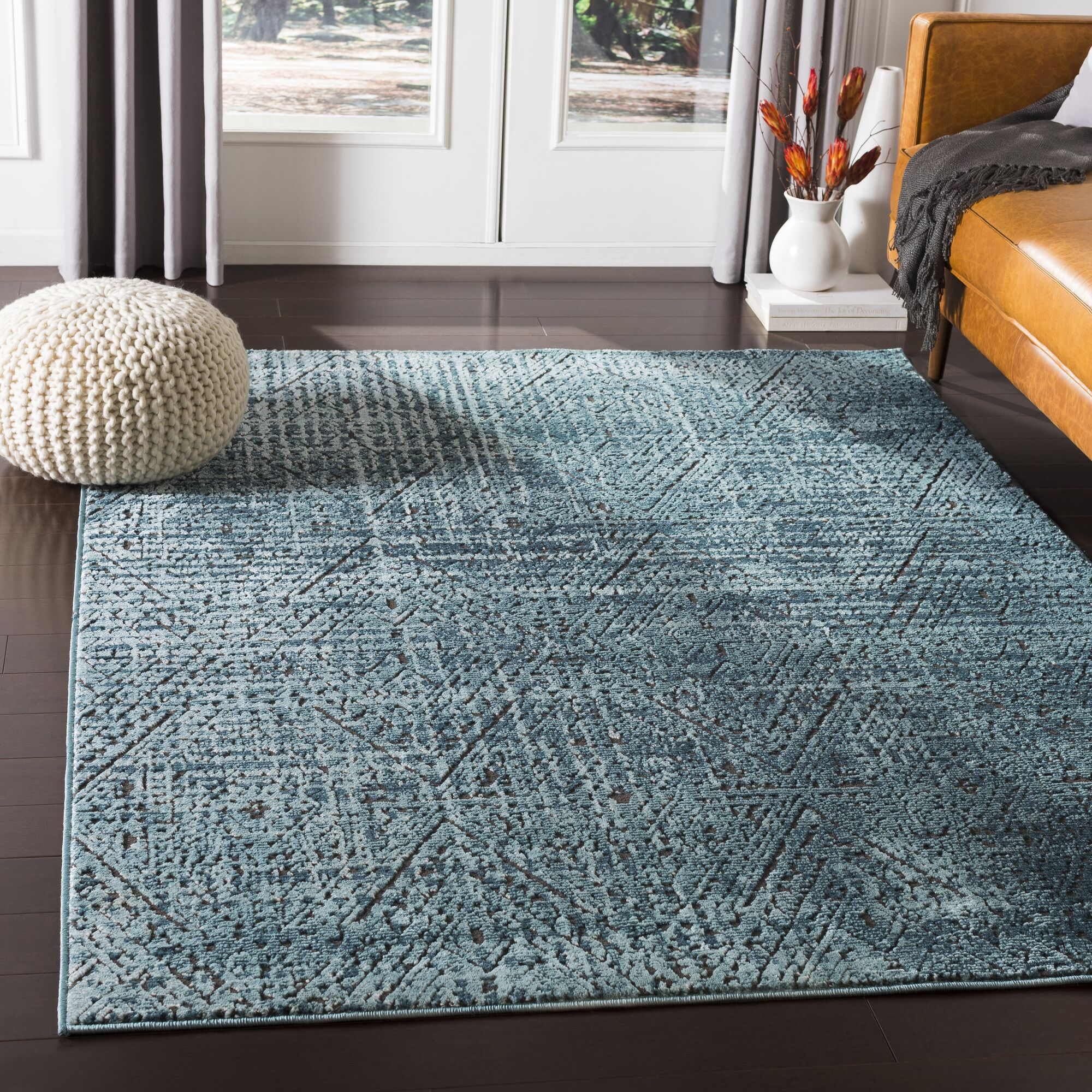 Quinlan Distressed Geometric Teal Area Rug Rug Size: Rectangle 3'11