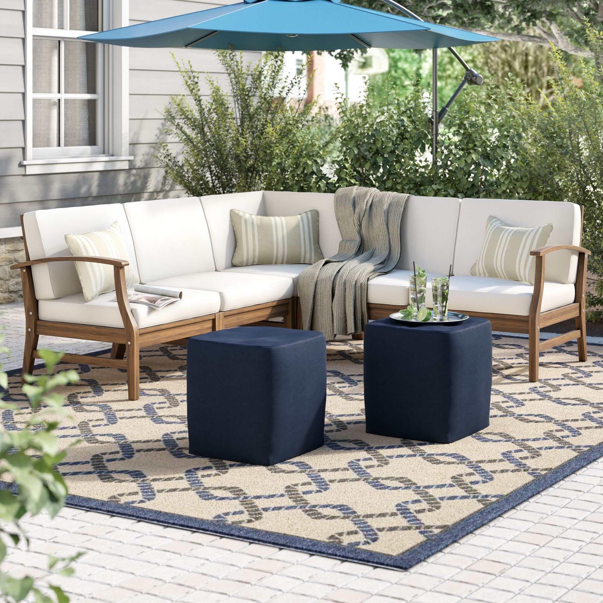 Butler 5 Piece Sectional Set with Cushions Upholstery: Cream