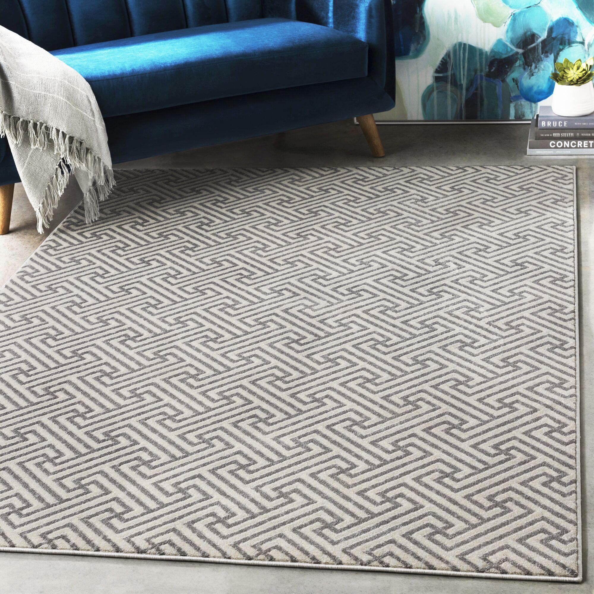 Hyacinth Modern Geometric Charcoal/Gray Area Rug Rug Size: Rectangle 3'11