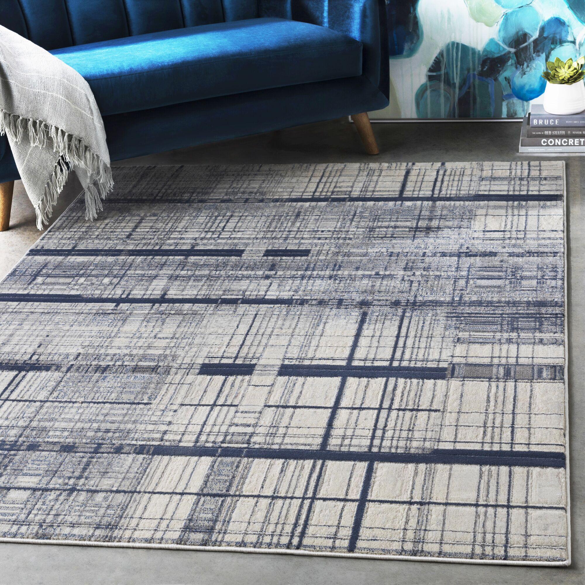 Hyacinth Modern Abstract Navy/Charcoal Area Rug Rug Size: Rectangle 3'11