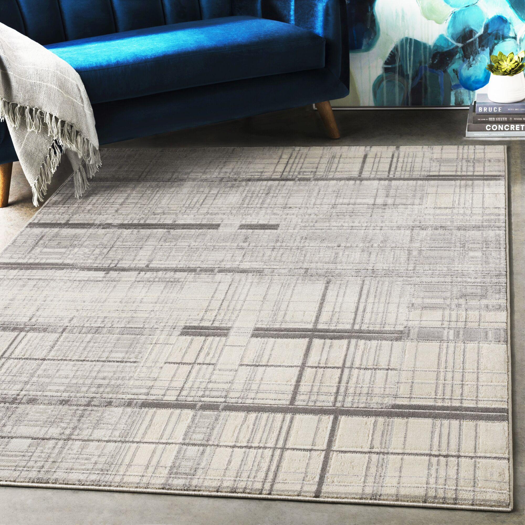 Hyacinth Modern Abstract Charcoal/Gray Area Rug Rug Size: Rectangle 9'3