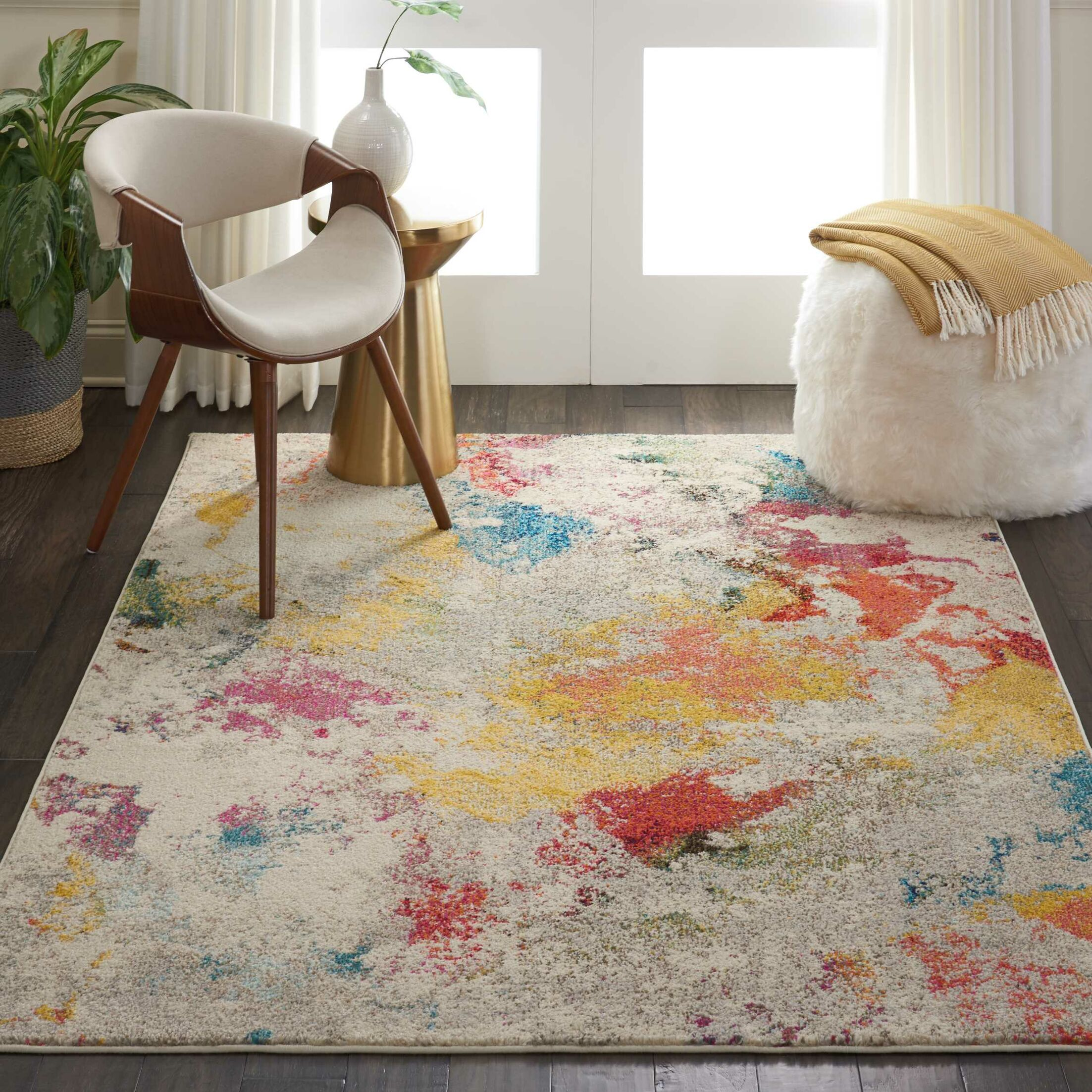 Allegro Bohemian Abstract Ivory/Yellow Area Rug Rug Size: Rectangle 3'11