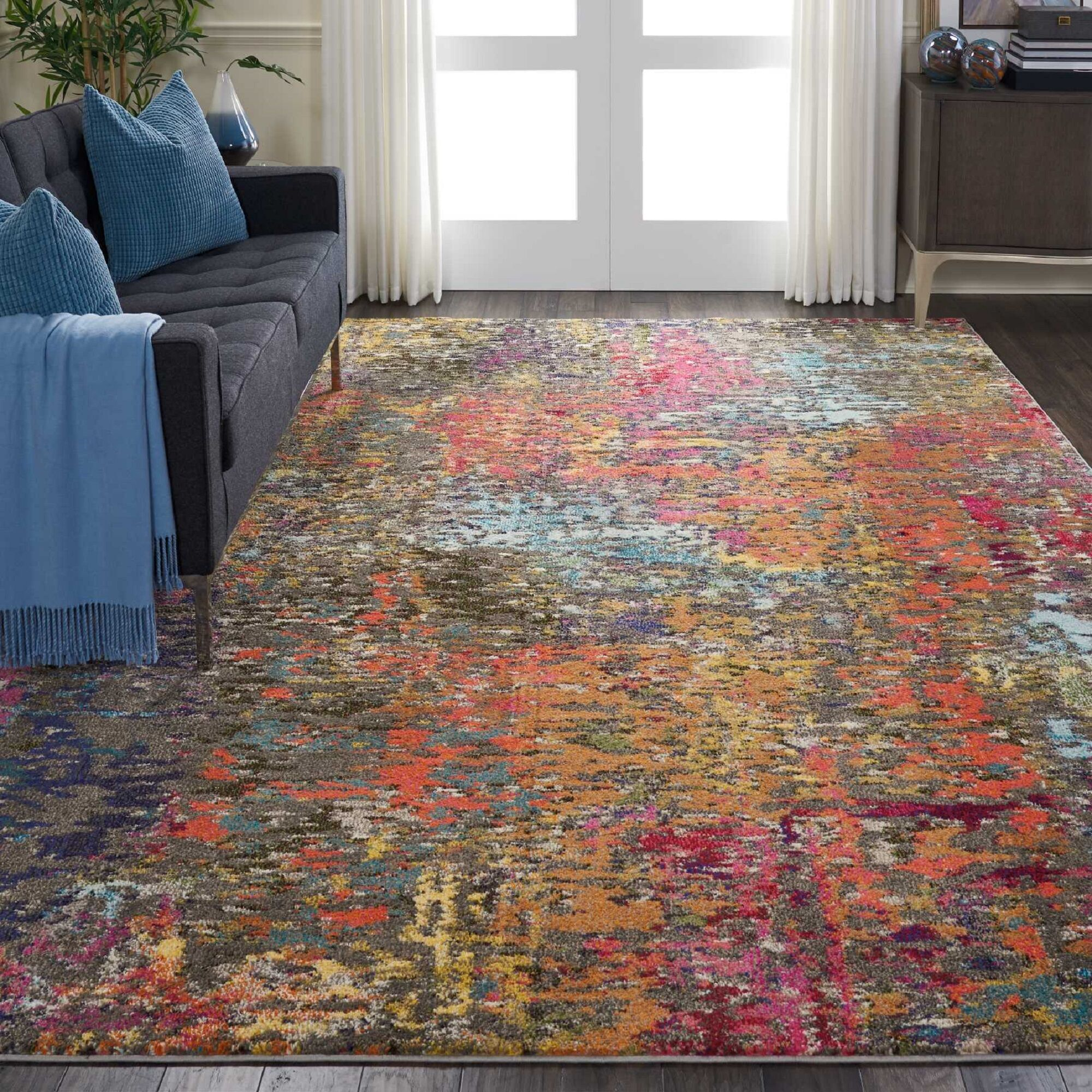 Allegro Bohemian Abstract Blue/Orange Area Rug Rug Size: Rectangle 5'3