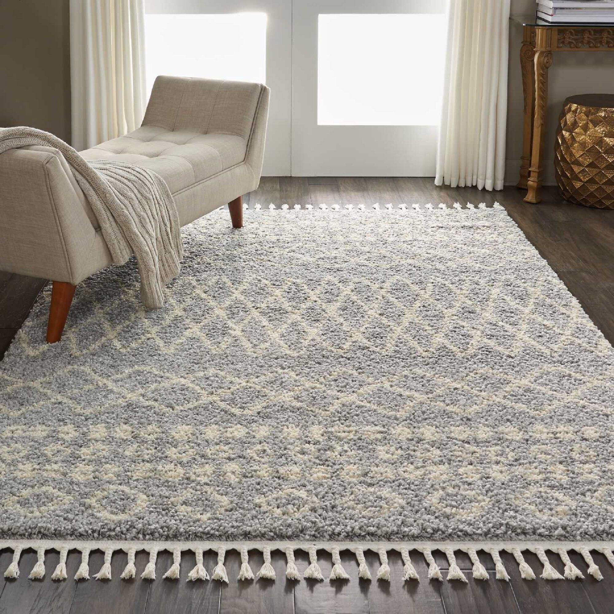 Iverson Moroccan Tribal Gray/Beige Area Rug Rug Size: Rectangle 9'2