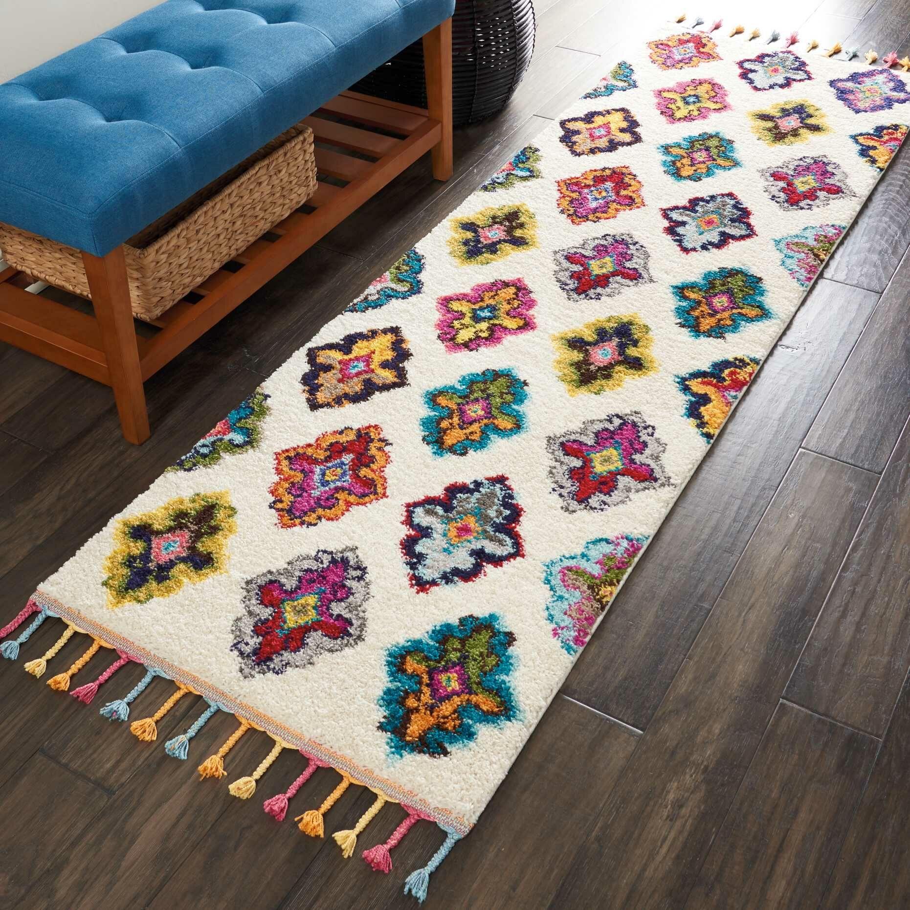Wayne Moroccan Tribal Ivory/Orange Area Rug Rug Size: Rectangle 7'10