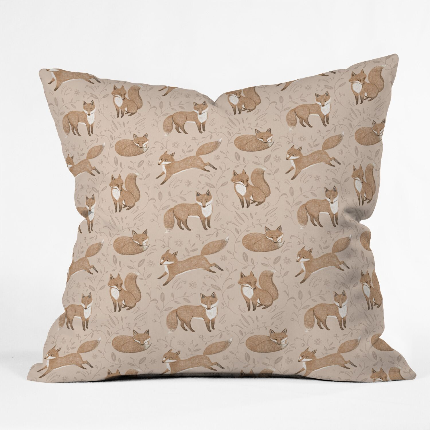 Pimlada Phuapradit Fox and Foliage Indoor/Outdoor Throw Pillow Size: 16