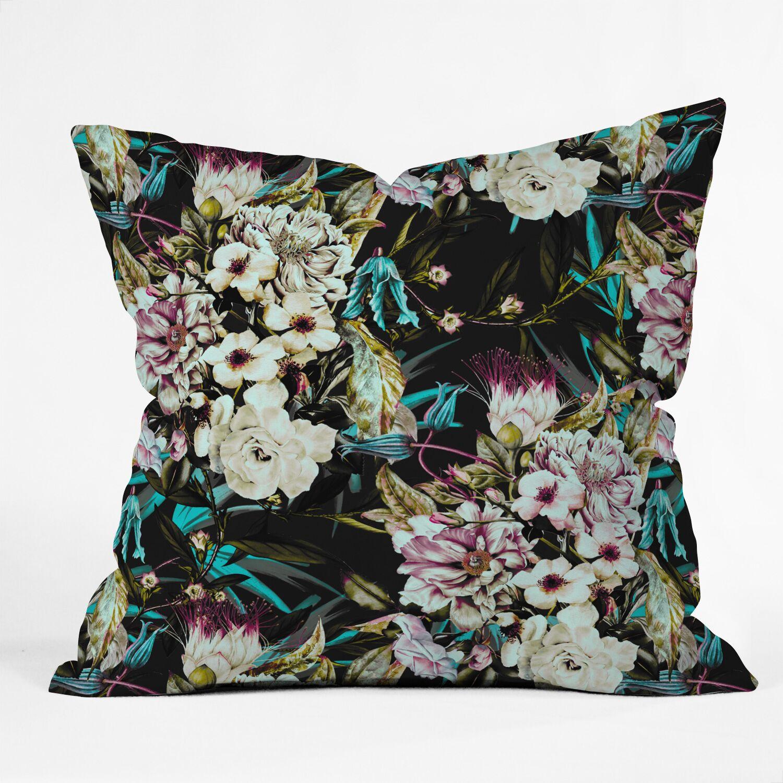 Marta Barragan Camarasa Dark Wild Floral Indoor/Outdoor Throw Pillow Size: 18