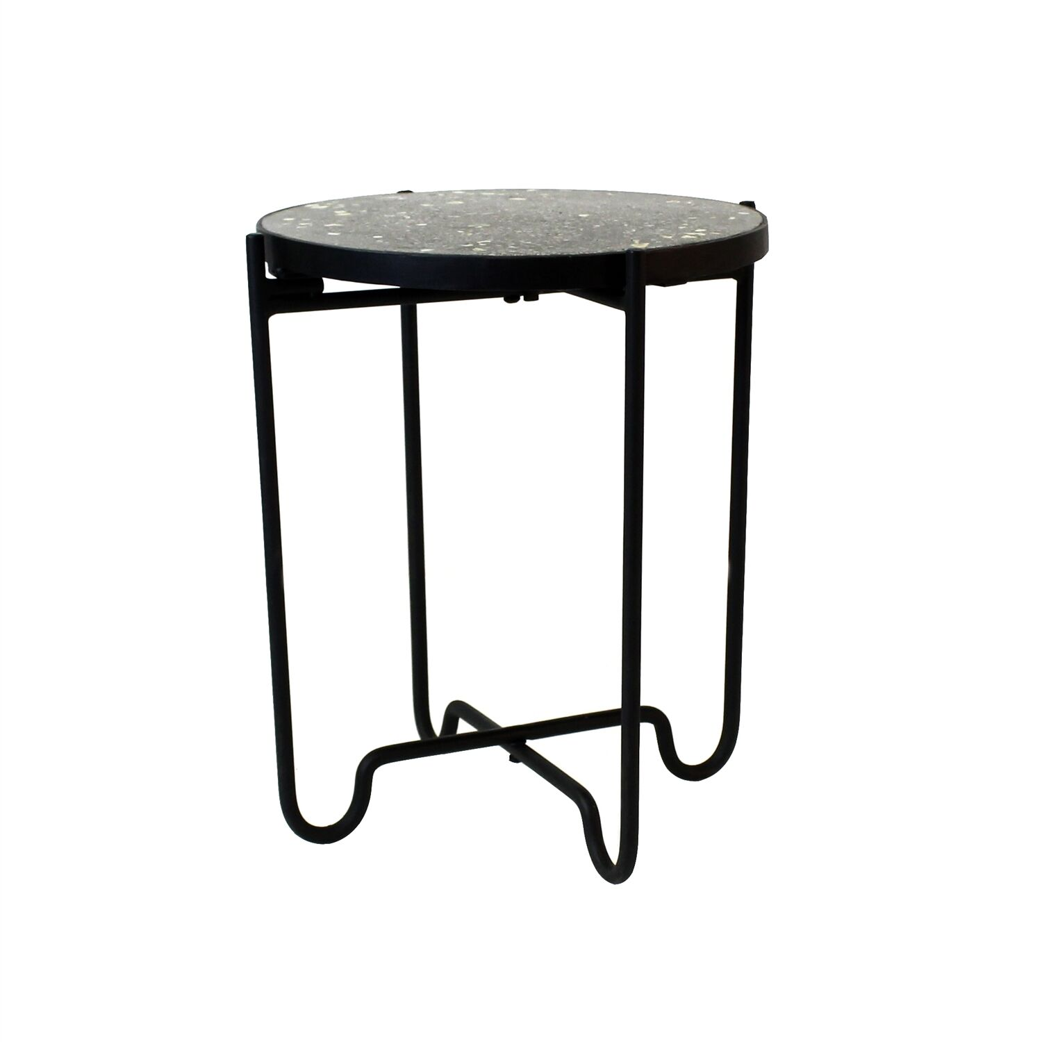 Lonan Iron and Side End Table Table Top Color: Black