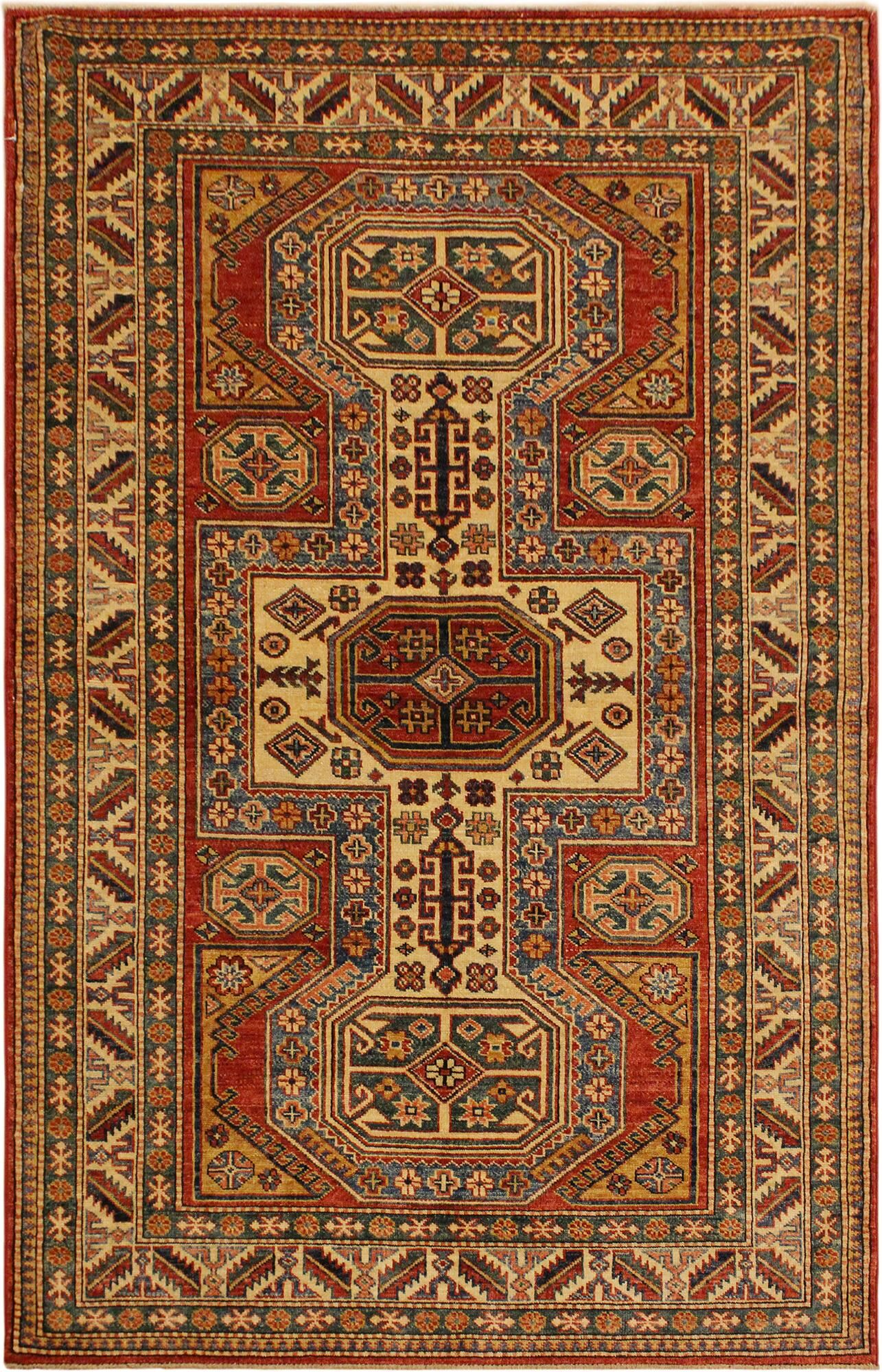 One-of-a-Kind Zoey Super Kazak Hand-Knotted Wool Red/Tan Area Rug