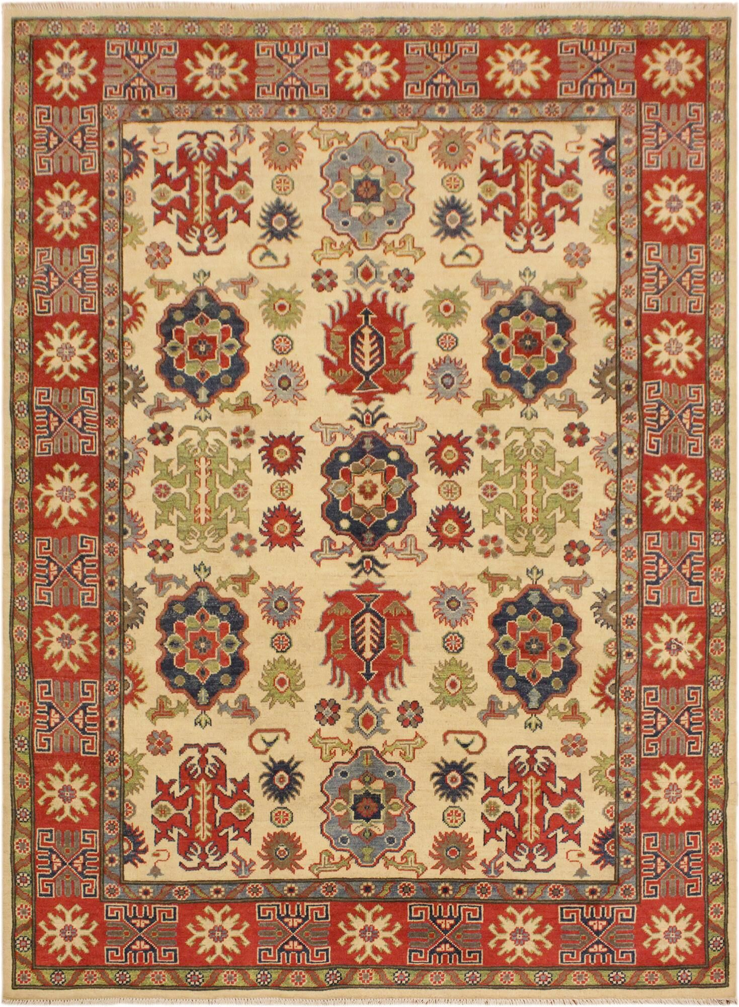 One-of-a-Kind Talia Kazak Hand-Knotted Wool Ivory/Red Area Rug