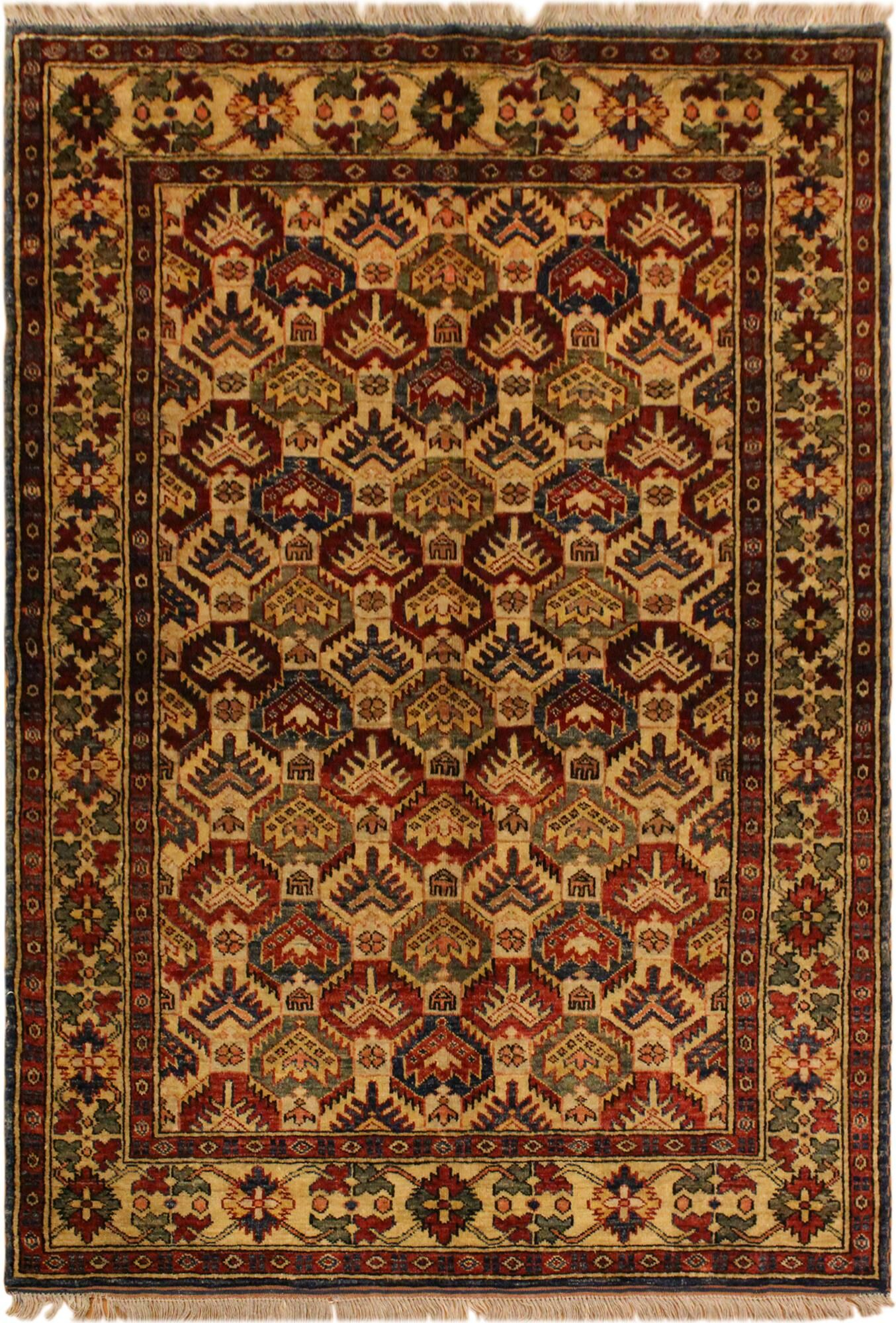 One-of-a-Kind Cyrus Super Kazak Hand-Knotted Wool Ivory/Blue Area Rug