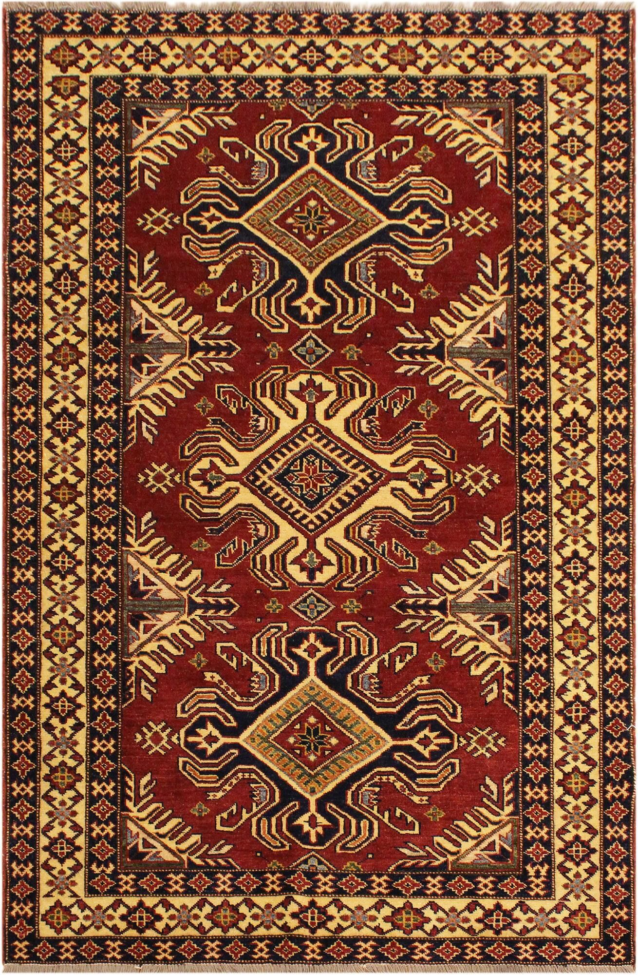 One-of-a-Kind Francesca Super Kazak Hand-Knotted Wool Red/Ivory Area Rug
