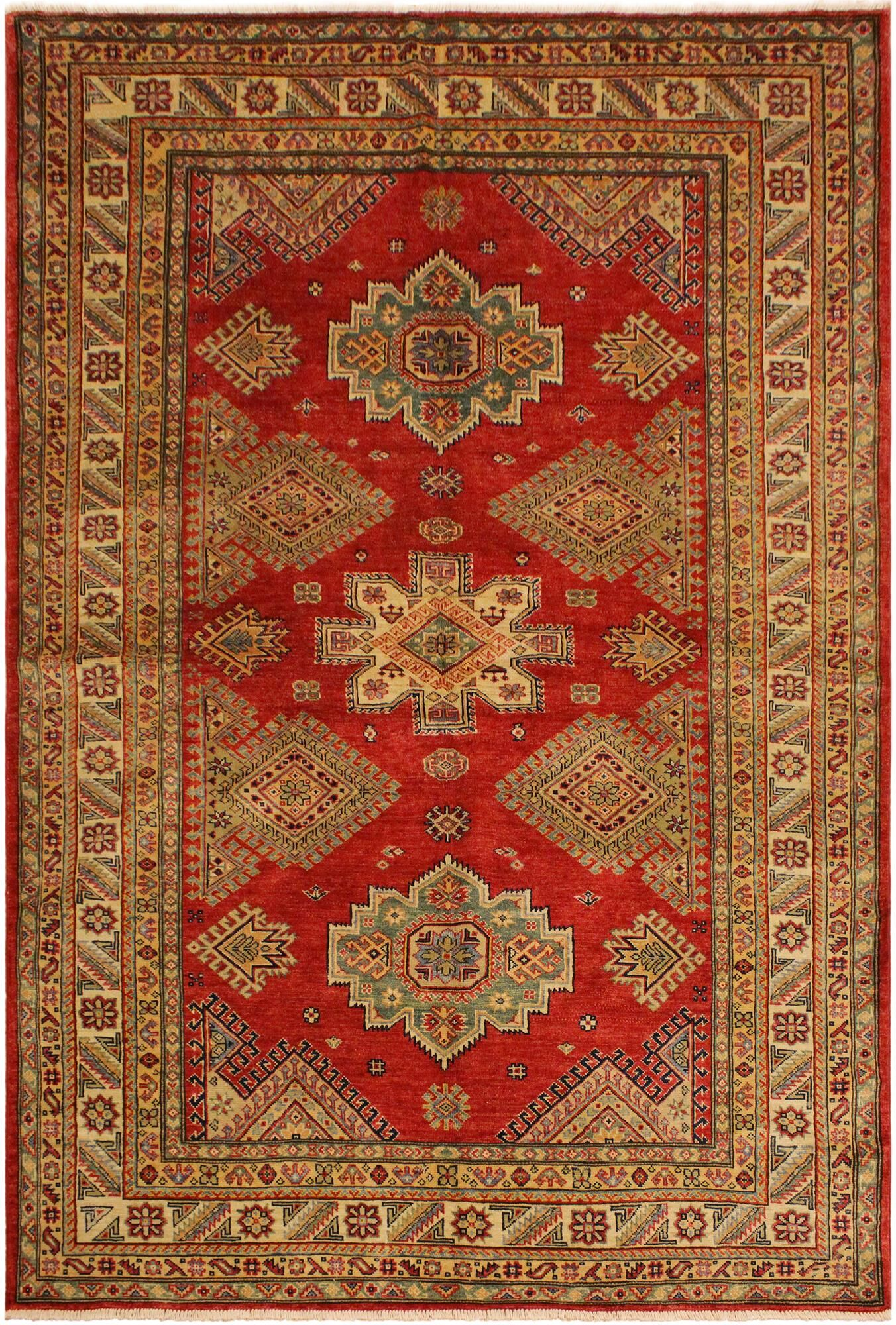 One-of-a-Kind Nina Super Kazak Hand-Knotted Wool Red/Light Tan Area Rug