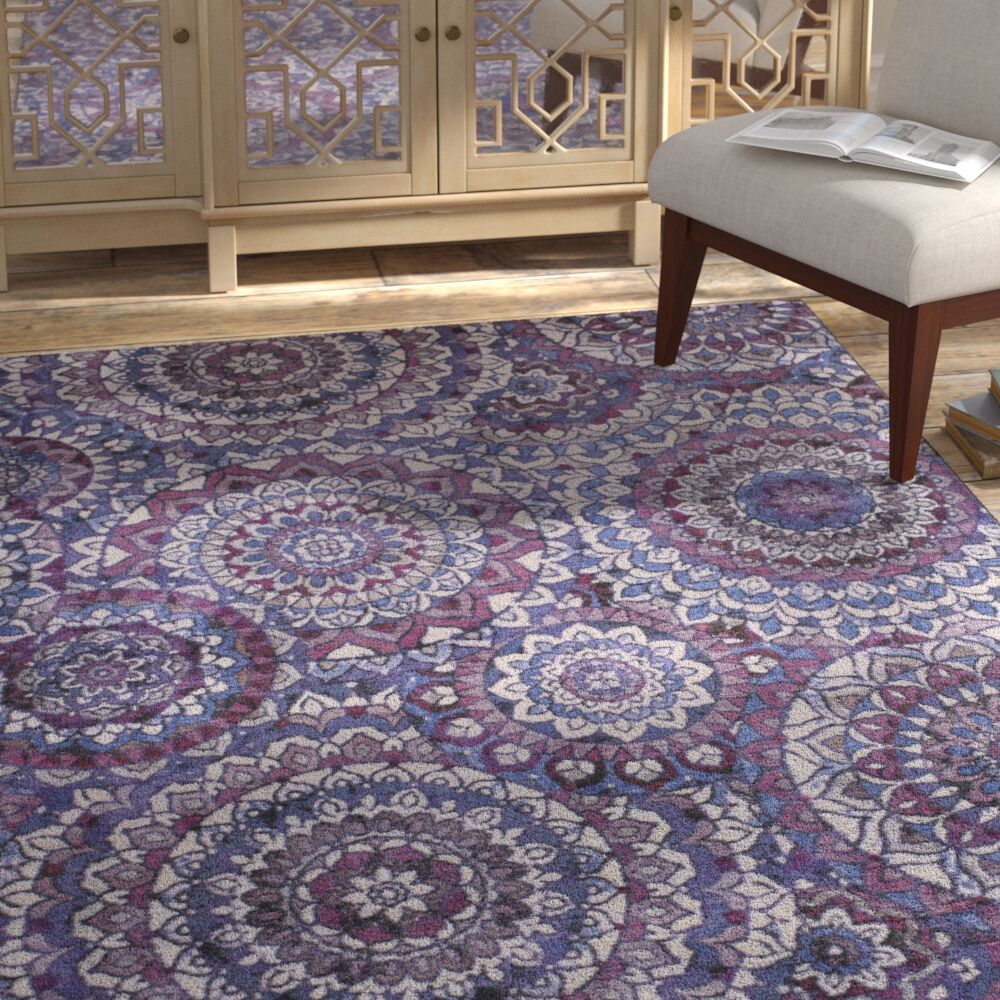 Claude Medallion Purple Area Rug Rug Size: Rectangle 5' x 8'