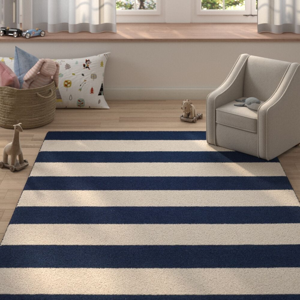Claro Stripe Hand-Tufted Navy/Ivory Area Rug Rug Size: Rectangle 4' x 6'