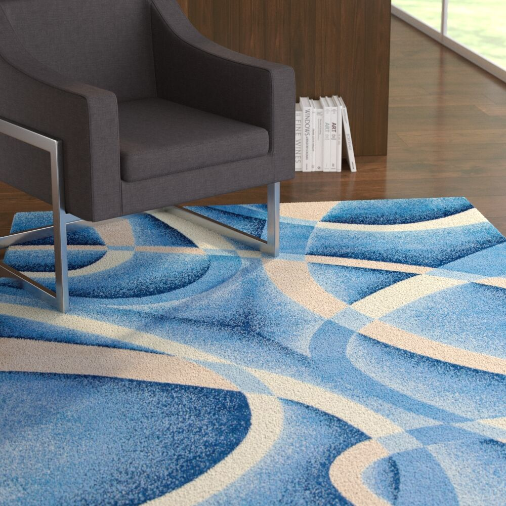 Squires Swirls Abstract Blue Area Rug Rug Size: Rectangle 2' x 3'4