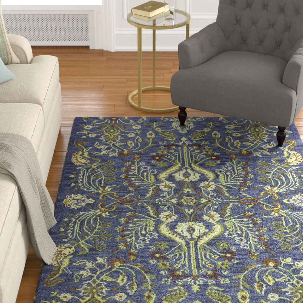 Croom Hand Tufted Wool Blue Area Rug Rug Size: Rectangle 5'' x 7'6''