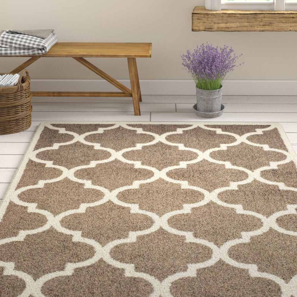 Priebe Lattice Brown/Ivory Area Rug Rug Size: Rectangle 3'10