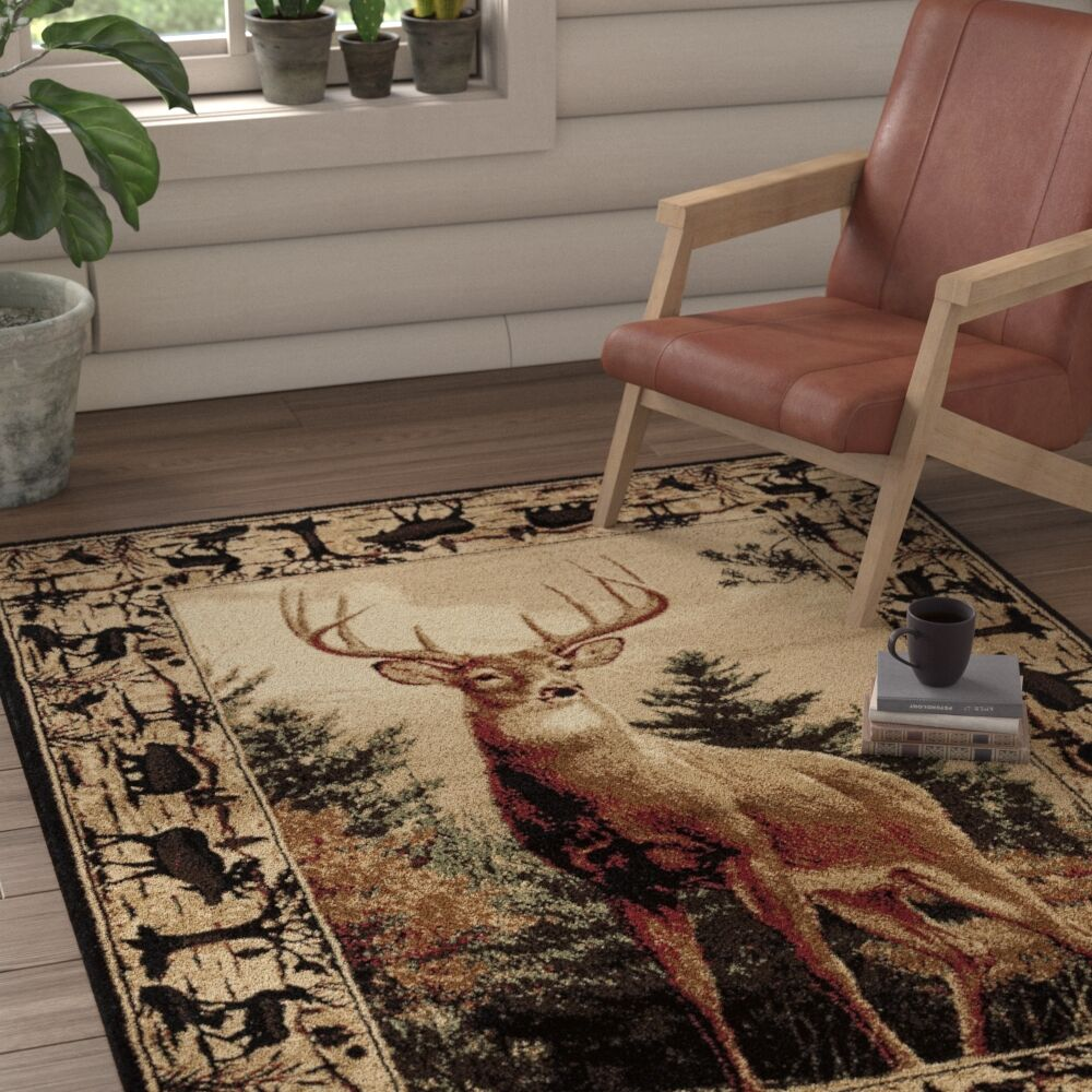 Pippen Regal Pride Brown/Beige/Green Area Rug Rug Size: Rectangle 7'10