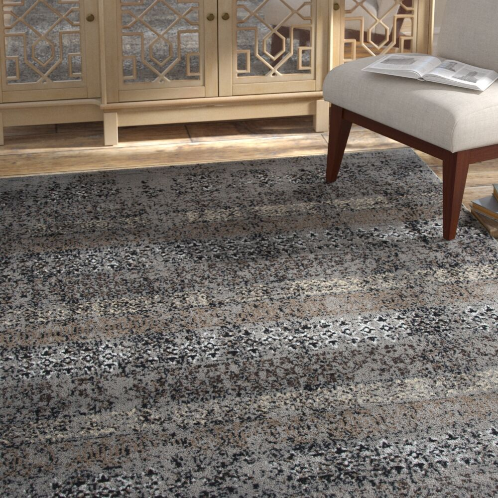 Arrighetto Gray/Black Area Rug Rug Size: Rectangle 8' x 10'
