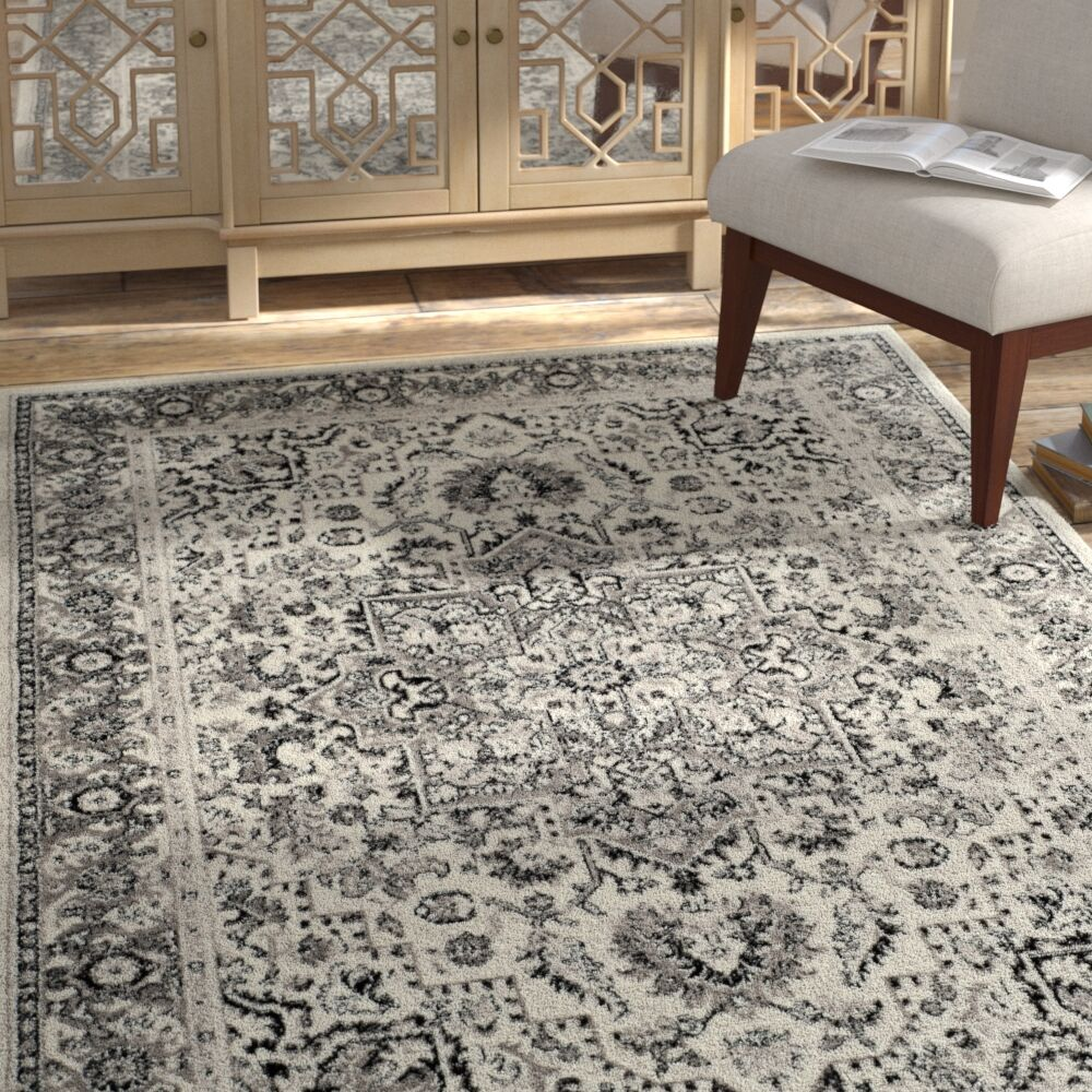 Doty Gray/Ivory Area Rug Rug Size: Rectangle 3' x 5'