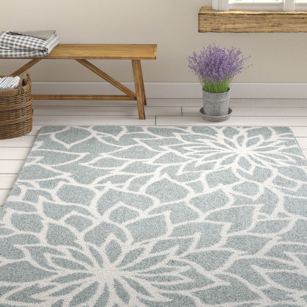 Priebe Floral Gray Area Rug Rug Size: Rectangle 6'7
