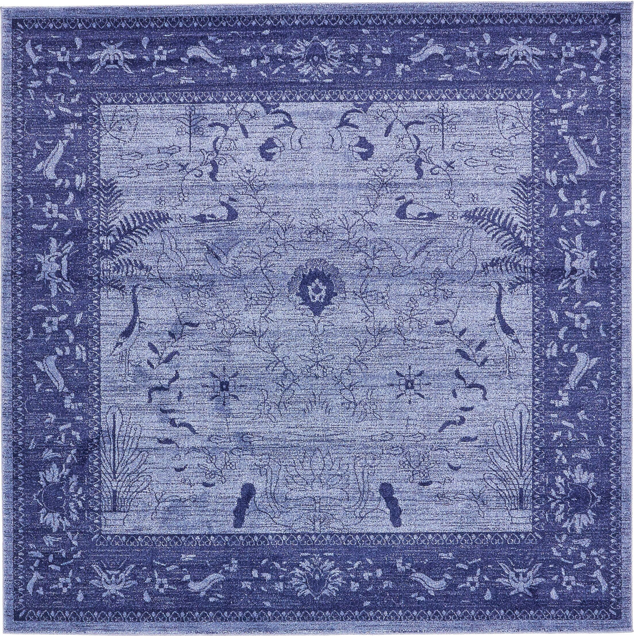 Shailene Blue Area Rug Rug Size: Square 8'