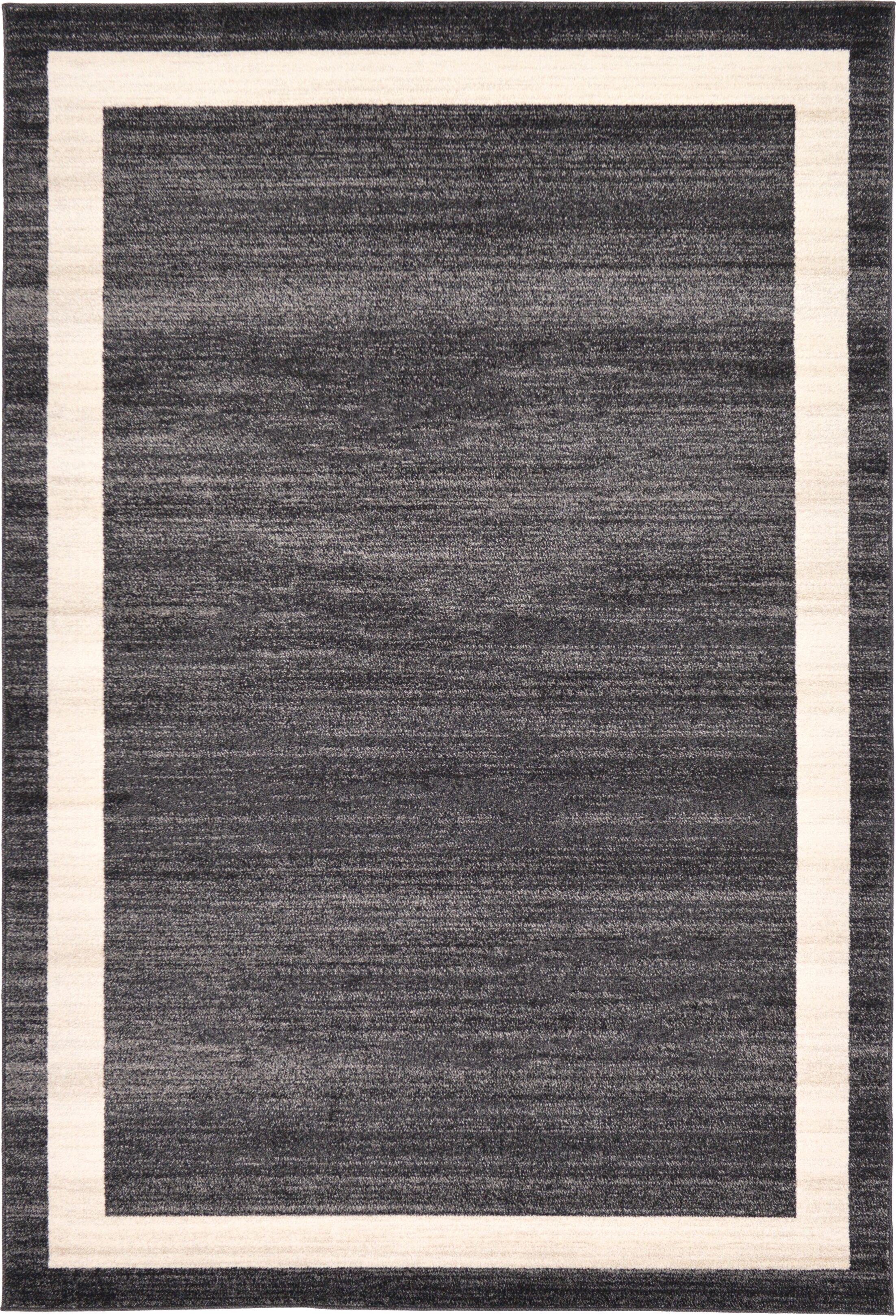 Cregan Black/Cream Area Rug Rug Size: Rectangle 6' x 9'