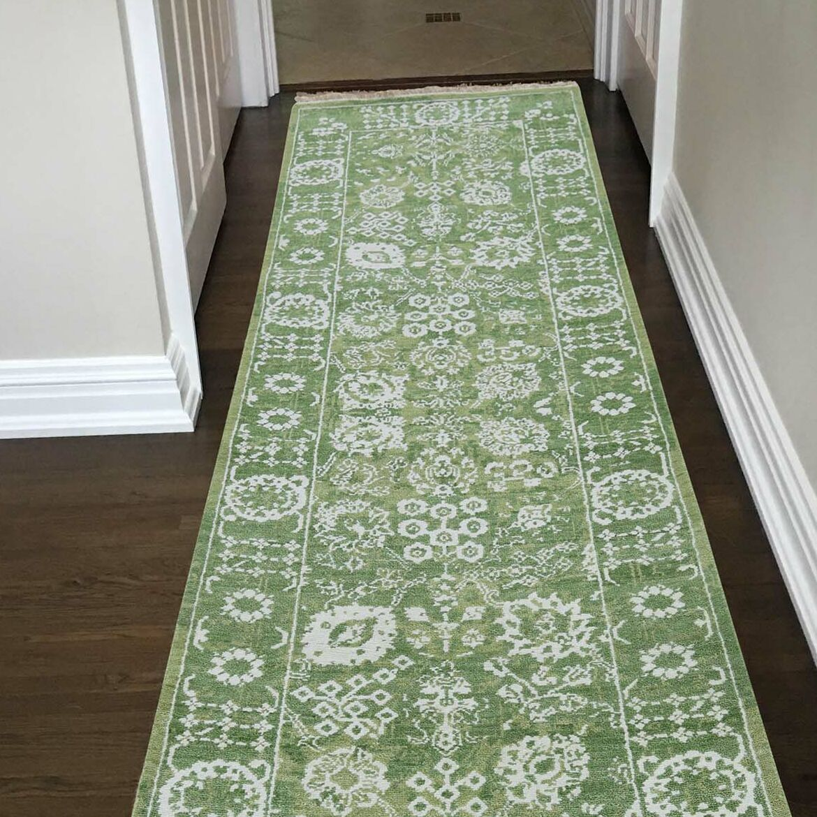 One-of-a-Kind Esters Tabriz Oriental Hand-Knotted Silk Green Area Rug