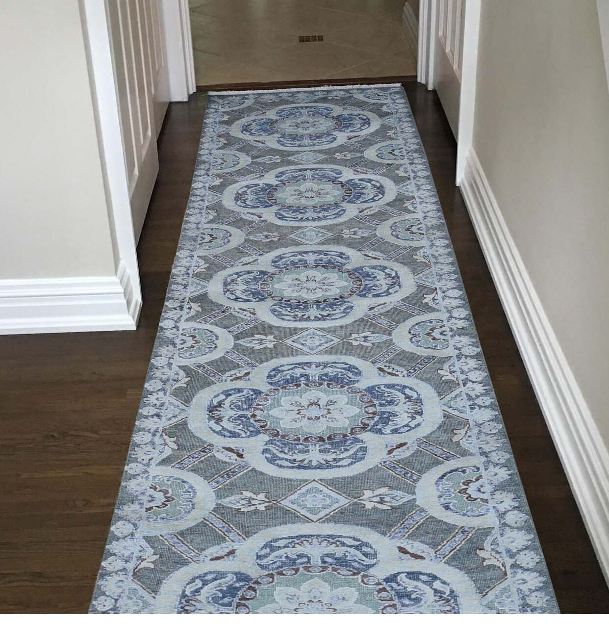 One-of-a-Kind Eudy Rosette with Oxidized Hand-Knotted Silk Gray Area Rug