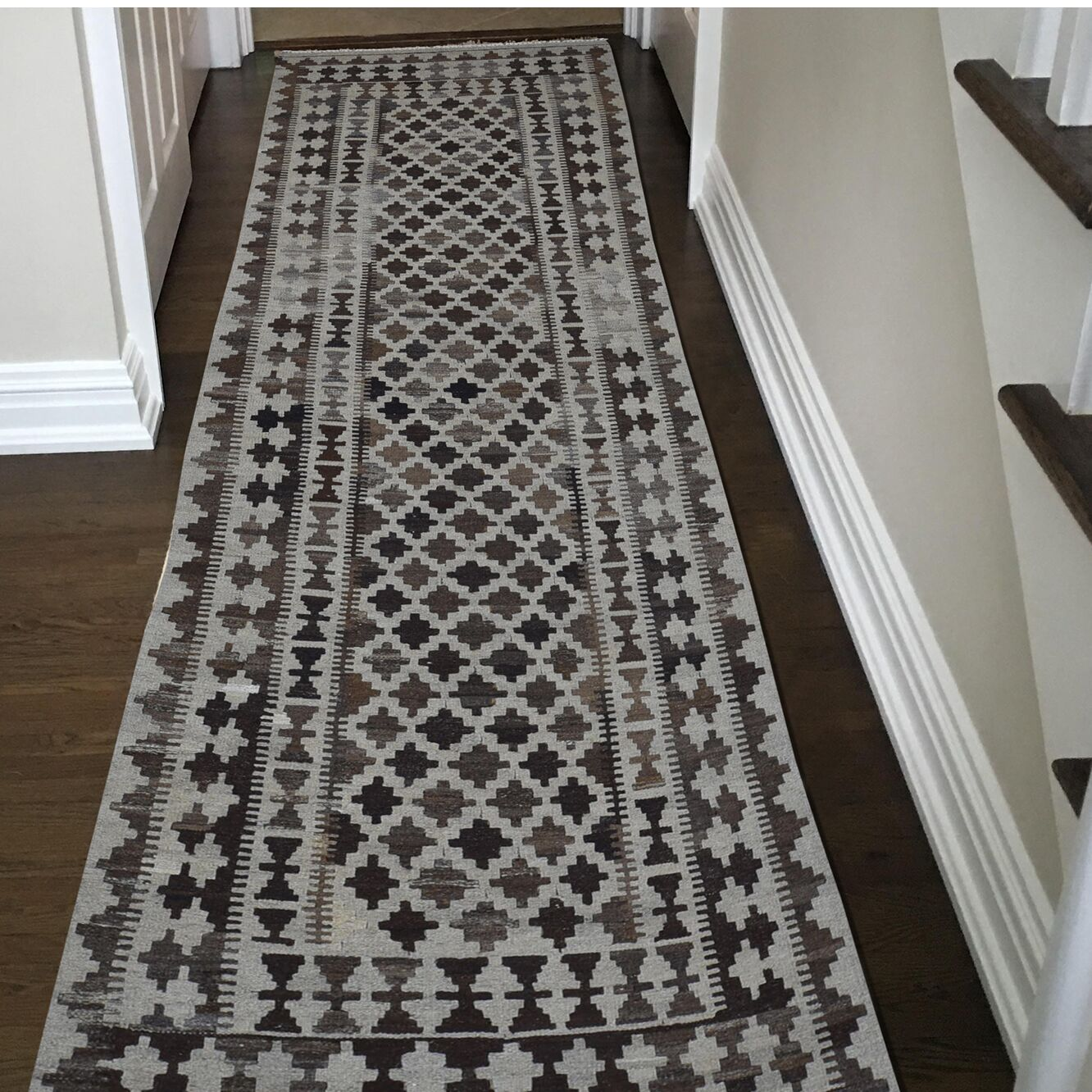 One-of-a-Kind Fransen Afghan Natural Dyes Reversible Kilim Wide Hand-Knotted Brown Area Rug
