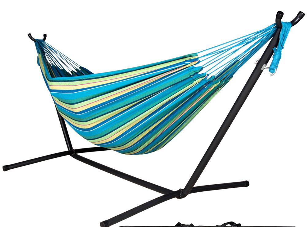 Lazy Daze Double Tree Hammock with Stand Color: Oasis Stripe