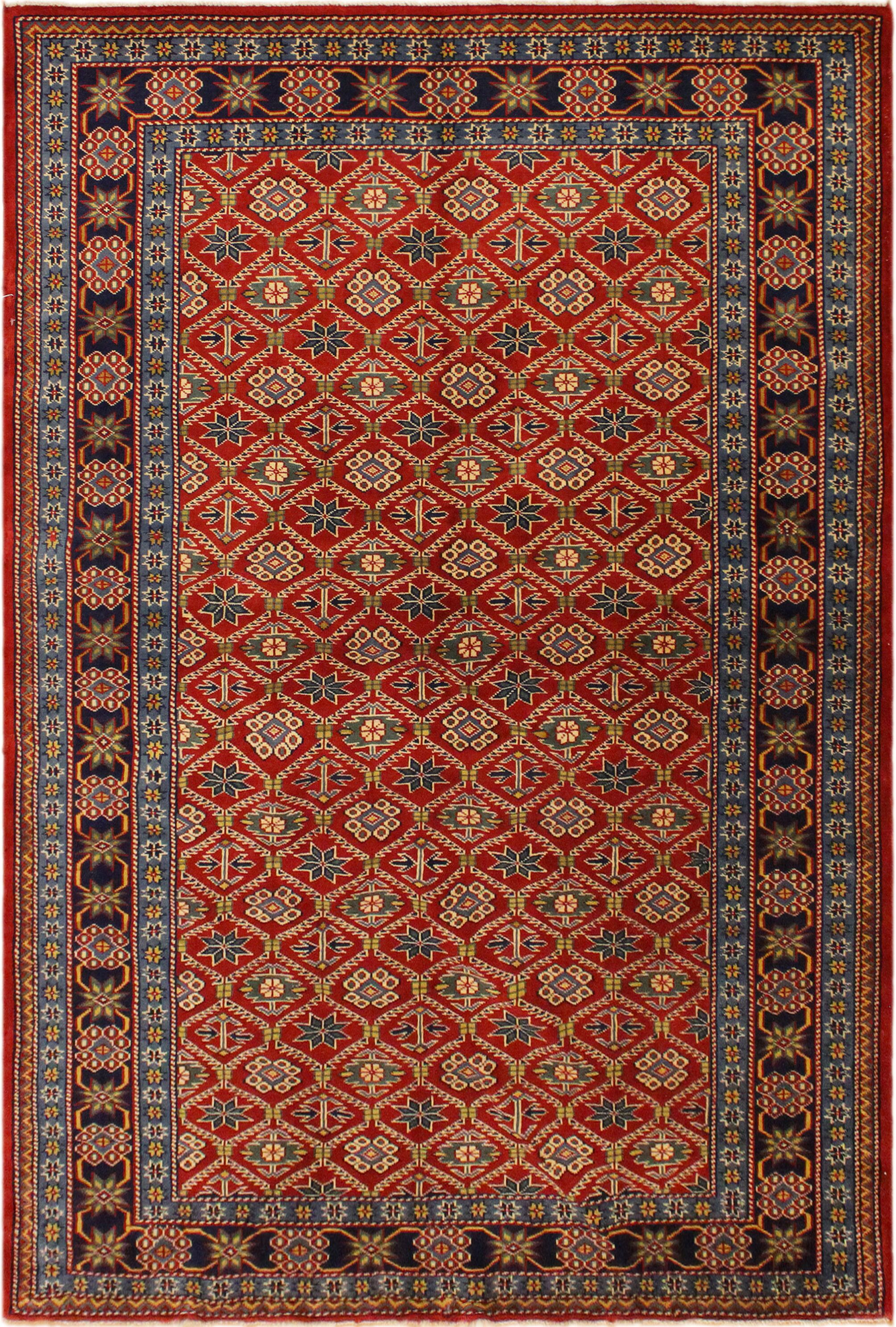 One-of-a-Kind Armillac Hand-Knotted Wool Red/Blue Area Rug