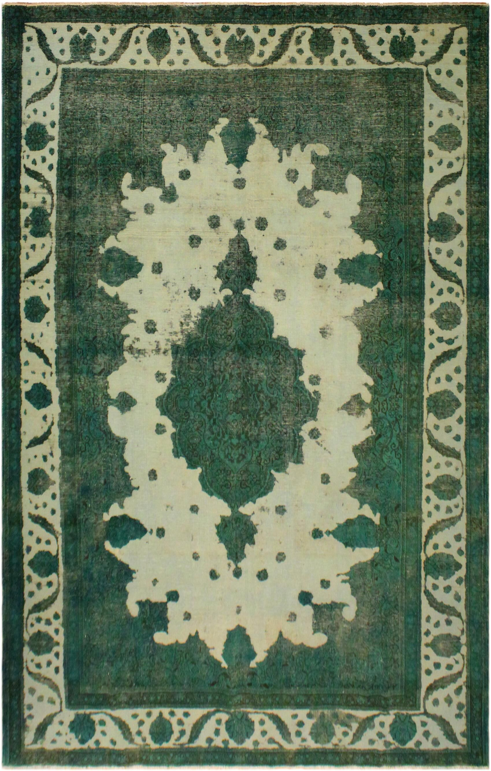 One-of-a-Kind Encore Vintage Distressed Overdyed Hand-Woven Wool Green/Beige Area Rug