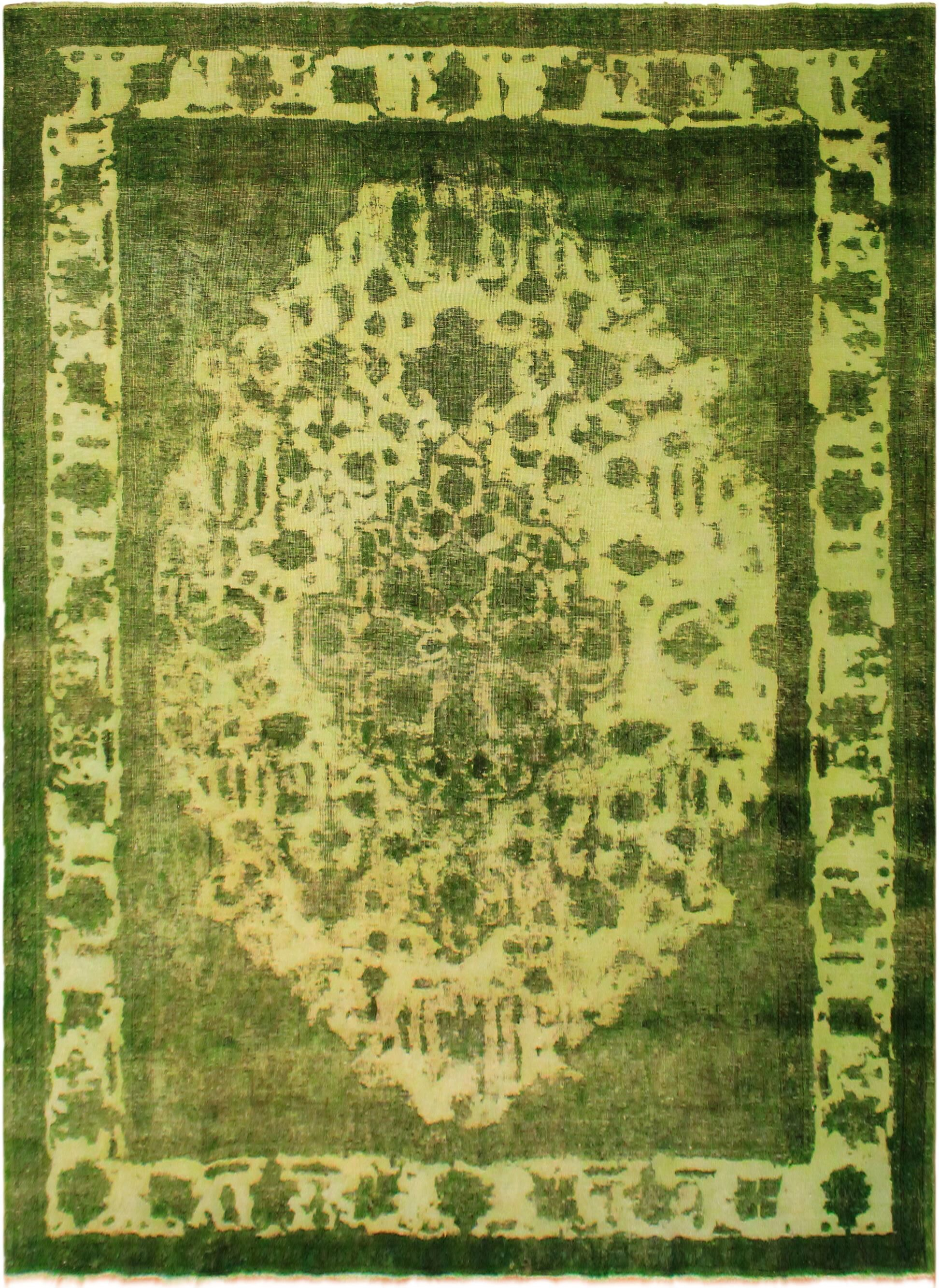One-of-a-Kind Essays Vintage Distressed Overdyed Hand-Woven Wool Light Green/Green Area Rug