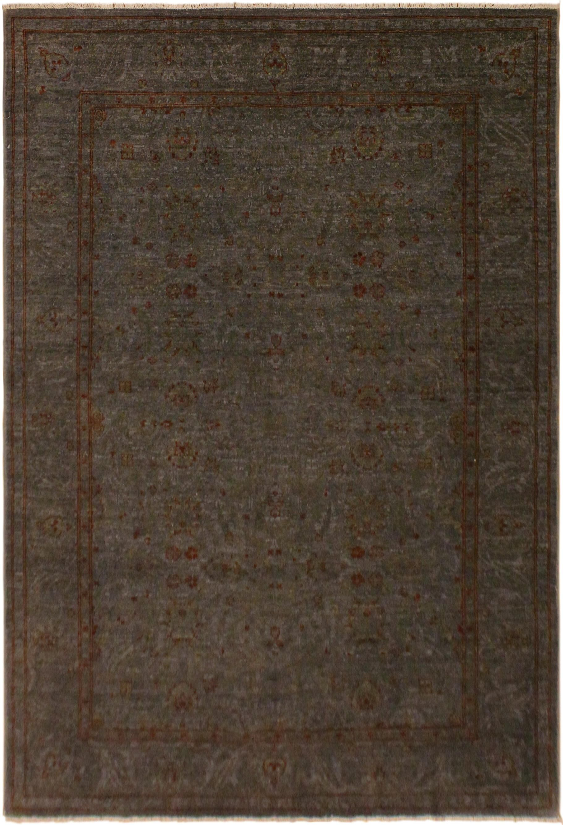 One-of-a-Kind Hidevale Overdyed Color Reform Hand-Knotted Gray/Rust Area Rug