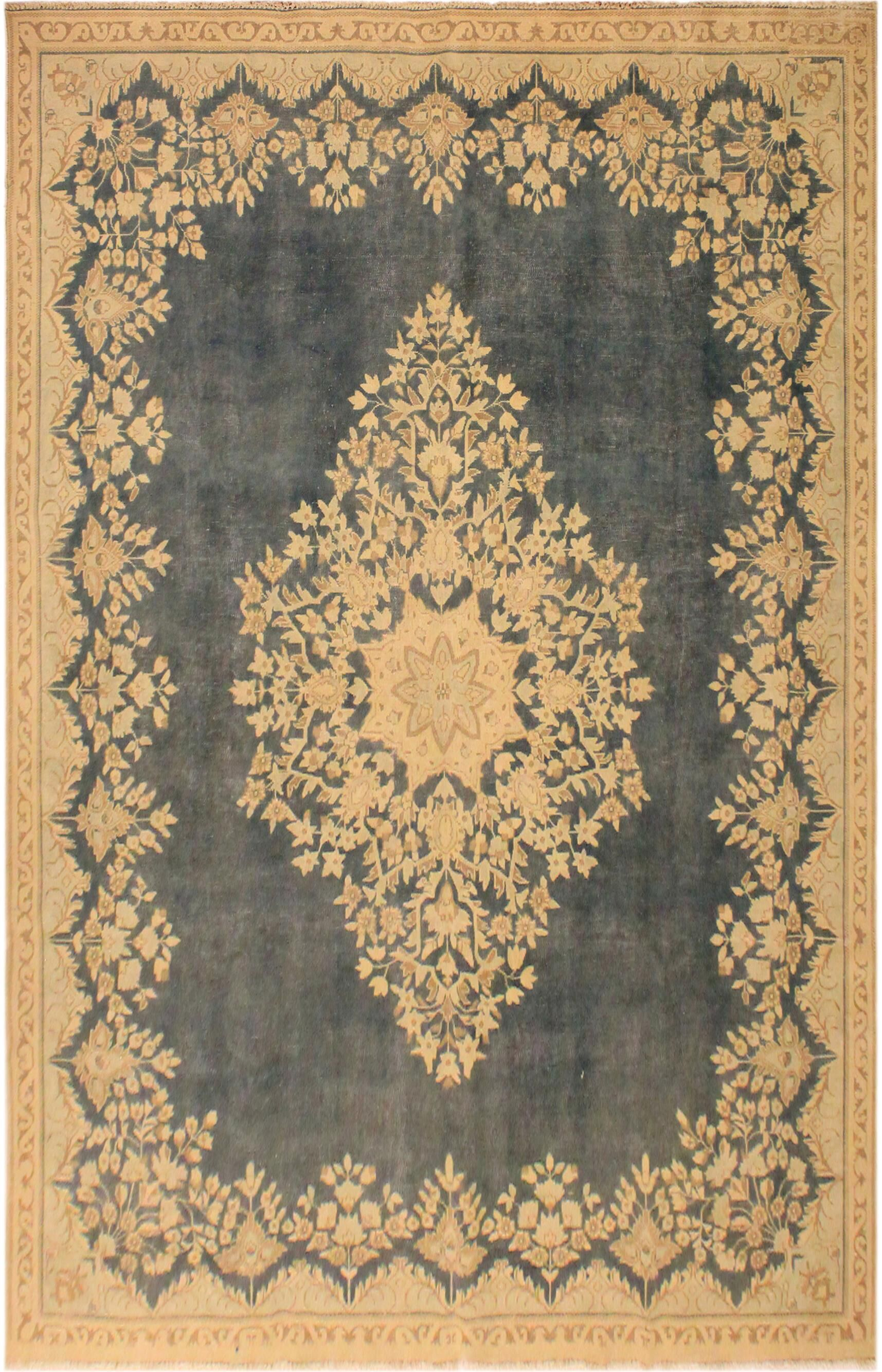 One-of-a-Kind Waldorf Vintage Distressed Overdyed Hand-Woven Wool Gray/Beige Area Rug