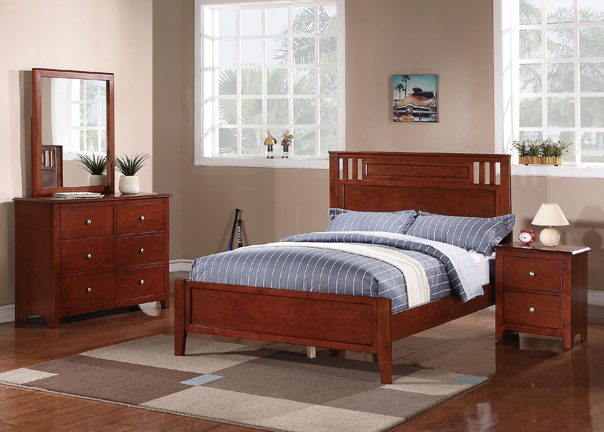 Schaefer Panel Bed Size: Full, Color: Cherry