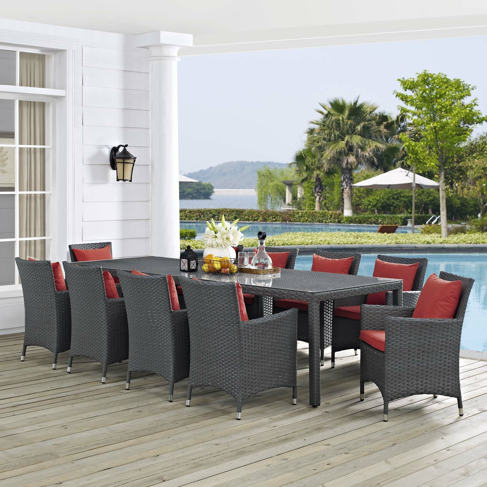 Tripp 11 Piece Dining Set with Sunbrella Cushions Cushion Color: Red, Table Size: 29.5