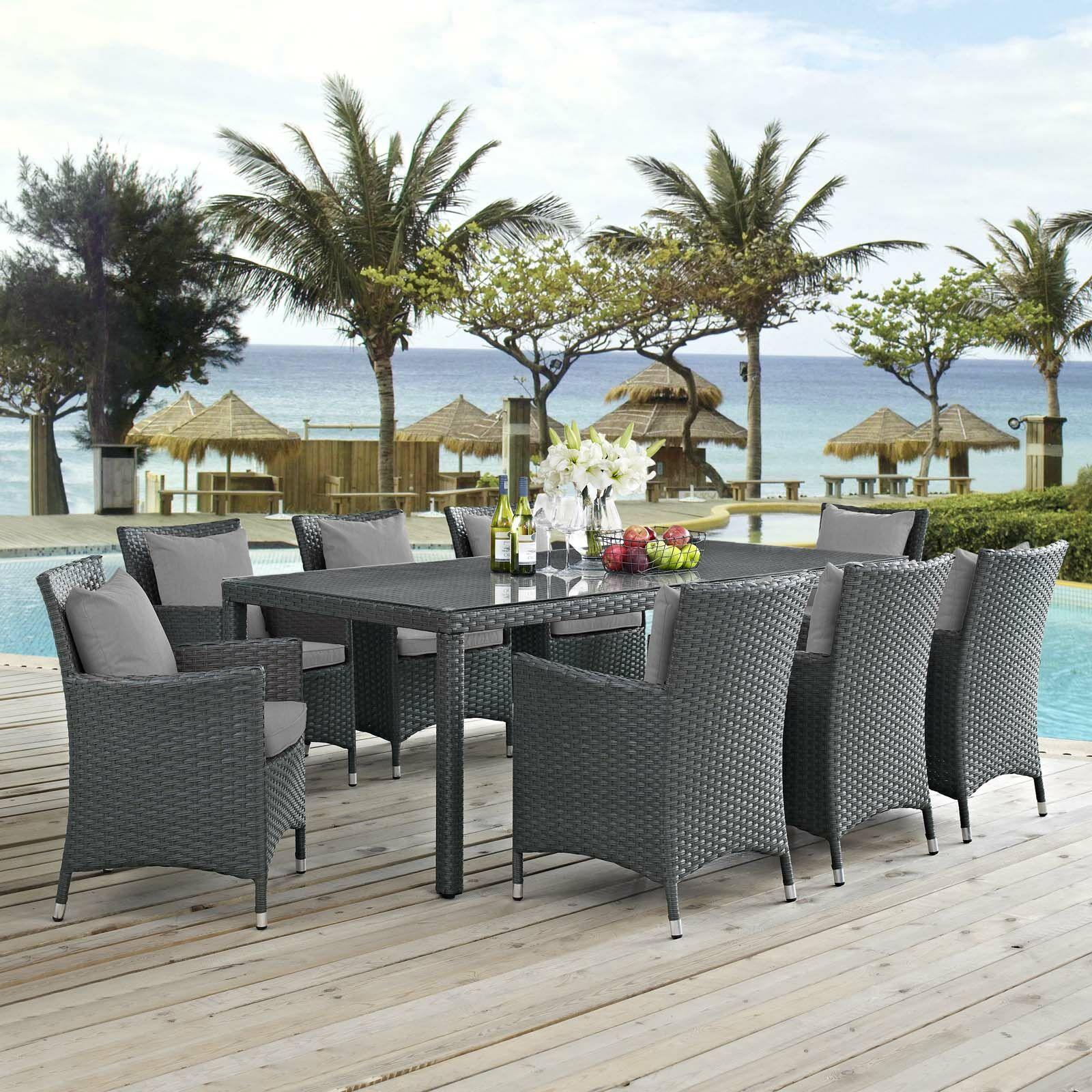 Tripp 9 Piece Dining Set with Sunbrella Cushions Cushion Color: Gray