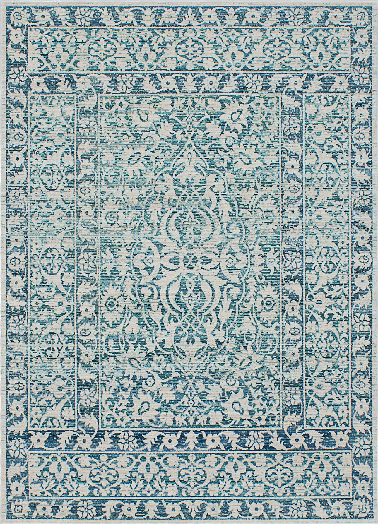 Gabriela Silk Blue/Beige Area Rug