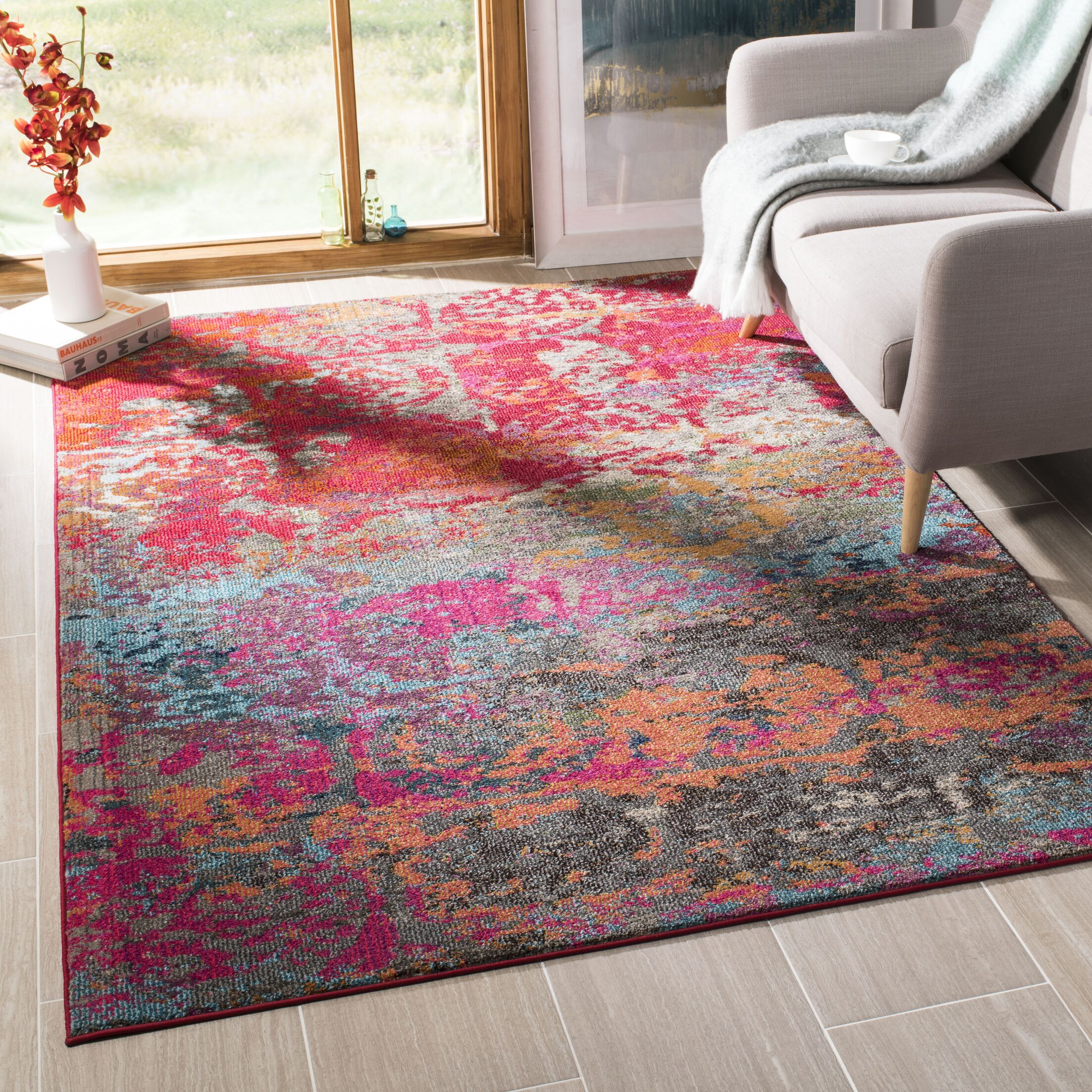Arianna Fuchsia/Blue Area Rug Rug Size: Rectangle 5'1