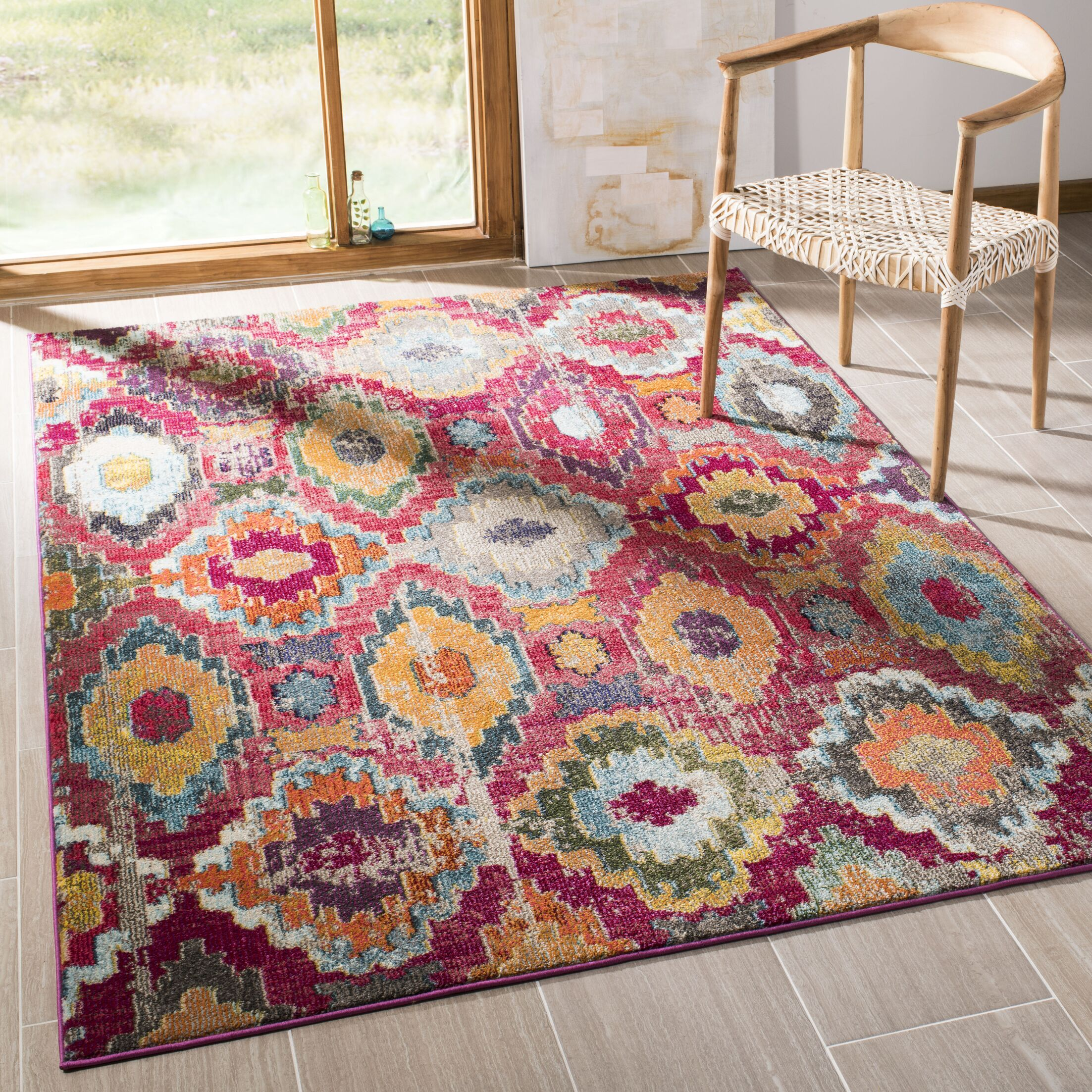 Arianna Red/Blue Area Rug Rug Size: Rectangle 9' x 12'