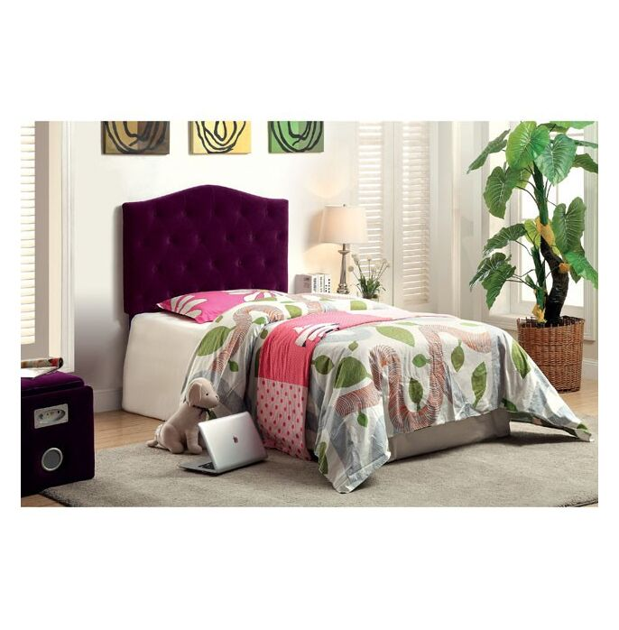 Mabel Compatibility Upholstered Panel Headboard Upholstery: Purple, Size: Twin