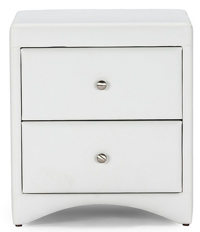 Ginder Upholstered 2 Drawer Nightstand Color: White