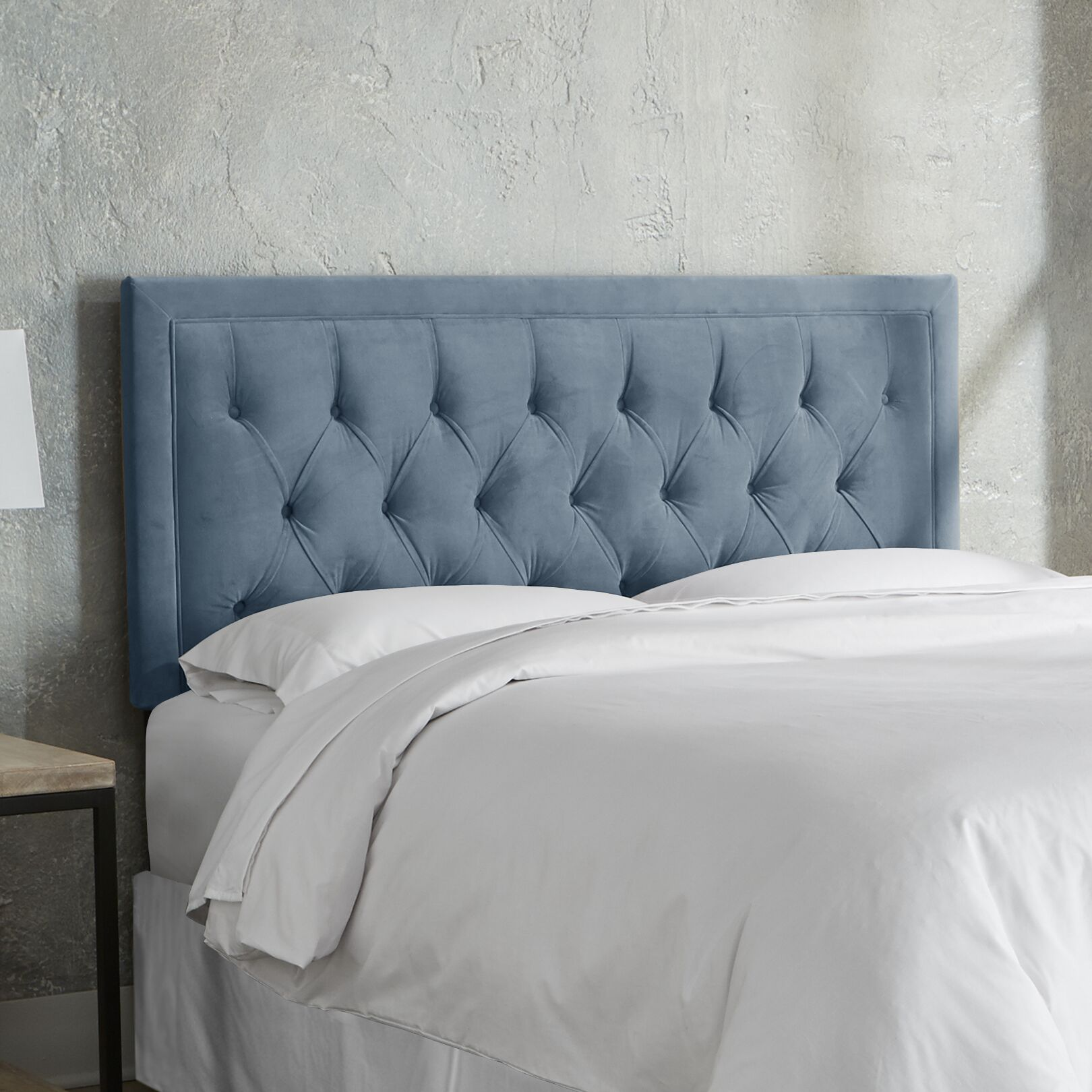 Leahy Tufted Upholstered Panel Headboard Size: King, Color: Ocean