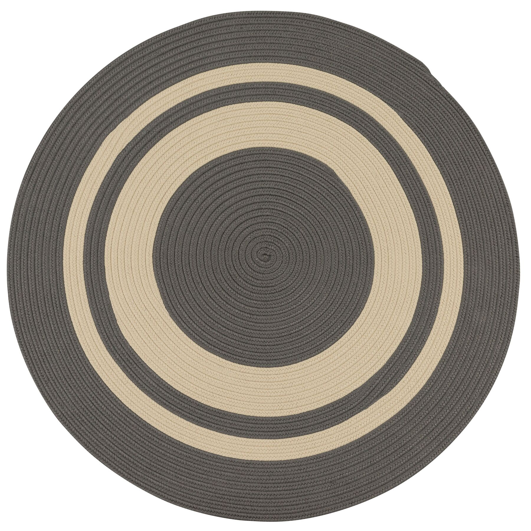 Don Hand-Braided Gray/Biege Indoor/Outdoor Area Rug Rug Size: Round 5'