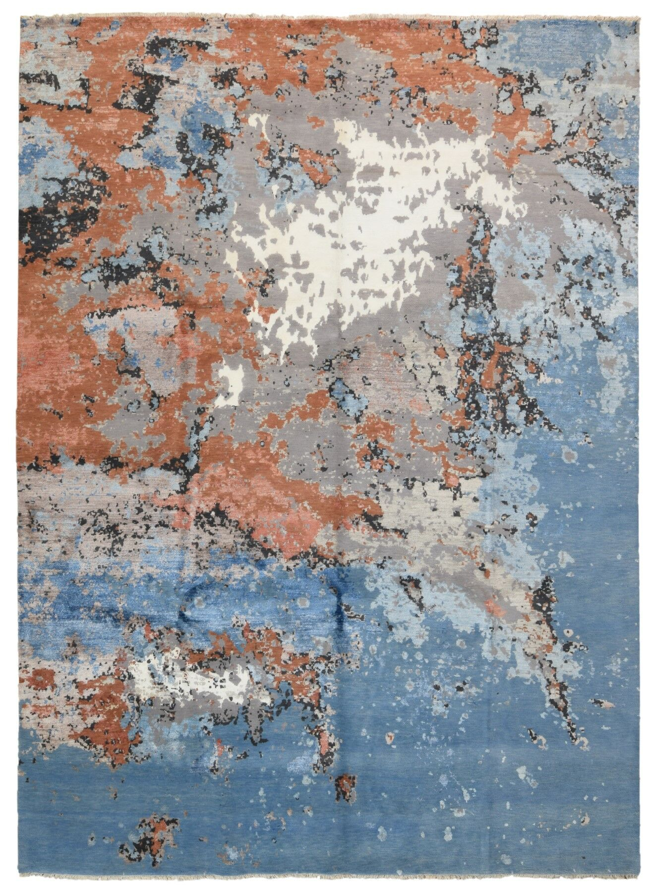 One-of-a-Kind Cassius Oriental Hand-Knotted Blue Area Rug