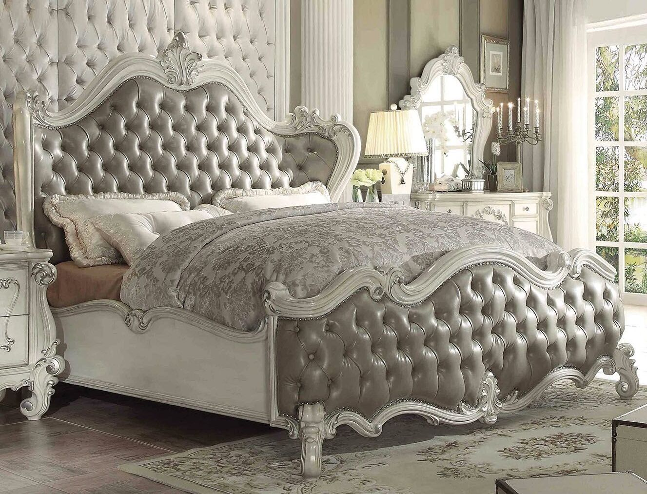 Tanner Upholstered Panel Bed Size: King, Color: Bone White
